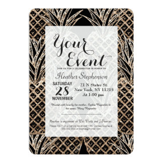 Faux Gold Leaf Pineapple Collage 5x7 Paper Invitation Card
