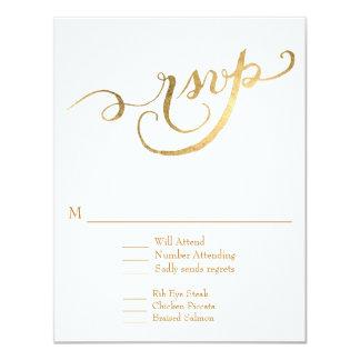 Faux Gold Leaf RSVP Response Script Forever Love Card