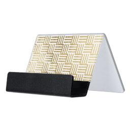 Faux Gold Leaf Striped Check Pattern Desk Business Card Holder