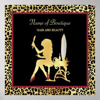 FAUX Gold Leopard Print Woman Hair Boutique Sign