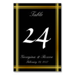 [ Thumbnail: Faux Gold-Like Border & Black Background Table Number ]