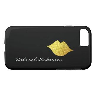 faux gold lips + name (script font-style) black iPhone 8/7 case