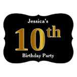 [ Thumbnail: Faux Gold Look 10th Birthday Party + Custom Name Invitation ]