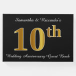 [ Thumbnail: Faux Gold Look 10th Wedding Anniversary + Names Guest Book ]