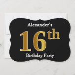 [ Thumbnail: Faux Gold Look 16th Birthday Party + Custom Name Invitation ]