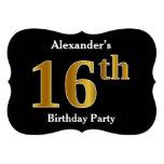 [ Thumbnail: Faux Gold Look 16th Birthday Party + Custom Name Invitation ]