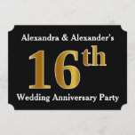 [ Thumbnail: Faux Gold Look 16th Wedding Anniversary Party Invitation ]