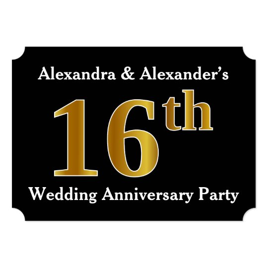16th Wedding Anniversary.Faux Gold Look 16th Wedding Anniversary Party Invitation