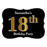 [ Thumbnail: Faux Gold Look 18th Birthday Party + Custom Name Invitation ]