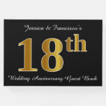 [ Thumbnail: Faux Gold Look 18th Wedding Anniversary + Names Guest Book ]
