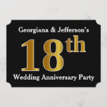 [ Thumbnail: Faux Gold Look 18th Wedding Anniversary Party Invitation ]