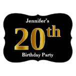 [ Thumbnail: Faux Gold Look 20th Birthday Party + Custom Name Invitation ]