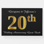 [ Thumbnail: Faux Gold Look 20th Wedding Anniversary + Names Guest Book ]