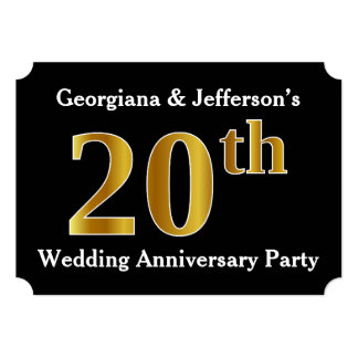 Faux Gold Look 20th Wedding Anniversary Party Card