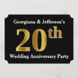 [ Thumbnail: Faux Gold Look 20th Wedding Anniversary Party Invitation ]
