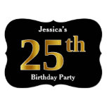 [ Thumbnail: Faux Gold Look 25th Birthday Party + Custom Name Invitation ]
