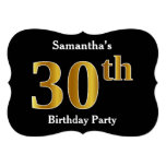 [ Thumbnail: Faux Gold Look 30th Birthday Party + Custom Name Invitation ]