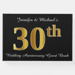 [ Thumbnail: Faux Gold Look 30th Wedding Anniversary + Names Guest Book ]