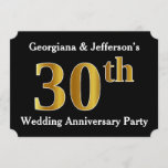 [ Thumbnail: Faux Gold Look 30th Wedding Anniversary Party Invitation ]