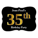 [ Thumbnail: Faux Gold Look 35th Birthday Party + Custom Name Invitation ]