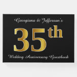 [ Thumbnail: Faux Gold Look 35th Wedding Anniversary + Names Guest Book ]