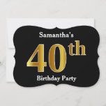 [ Thumbnail: Faux Gold Look 40th Birthday Party + Custom Name Invitation ]