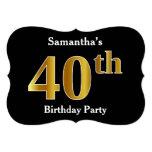 [ Thumbnail: Faux Gold Look 40th Birthday Party + Custom Name Invitation ]