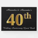 [ Thumbnail: Faux Gold Look 40th Wedding Anniversary + Names Guest Book ]