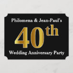 [ Thumbnail: Faux Gold Look 40th Wedding Anniversary Party Invitation ]