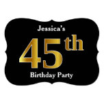 [ Thumbnail: Faux Gold Look 45th Birthday Party + Custom Name Invitation ]