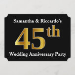 [ Thumbnail: Faux Gold Look 45th Wedding Anniversary Party Invitation ]