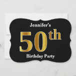 [ Thumbnail: Faux Gold Look 50th Birthday Party + Custom Name Invitation ]