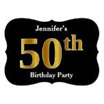 [ Thumbnail: Faux Gold Look 50th Birthday Party + Custom Name Invitation ]