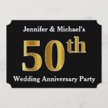 [ Thumbnail: Faux Gold Look 50th Wedding Anniversary Party Invitation ]