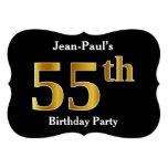[ Thumbnail: Faux Gold Look 55th Birthday Party + Custom Name Invitation ]