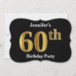 [ Thumbnail: Faux Gold Look 60th Birthday Party + Custom Name Invitation ]