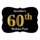 [ Thumbnail: Faux Gold Look 60th Birthday Party + Custom Name Invitation ]