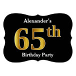 [ Thumbnail: Faux Gold Look 65th Birthday Party + Custom Name Invitation ]