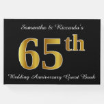 [ Thumbnail: Faux Gold Look 65th Wedding Anniversary + Names Guest Book ]