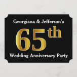 [ Thumbnail: Faux Gold Look 65th Wedding Anniversary Party Invitation ]