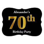 [ Thumbnail: Faux Gold Look 70th Birthday Party + Custom Name Invitation ]