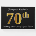 [ Thumbnail: Faux Gold Look 70th Wedding Anniversary + Names Guest Book ]