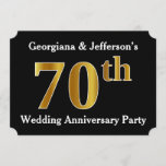[ Thumbnail: Faux Gold Look 70th Wedding Anniversary Party Invitation ]