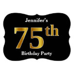 [ Thumbnail: Faux Gold Look 75th Birthday Party + Custom Name Invitation ]