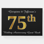 [ Thumbnail: Faux Gold Look 75th Wedding Anniversary + Names Guest Book ]