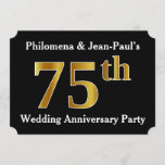 [ Thumbnail: Faux Gold Look 75th Wedding Anniversary Party Invitation ]