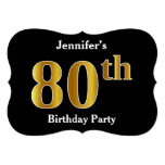 [ Thumbnail: Faux Gold Look 80th Birthday Party + Custom Name Invitation ]