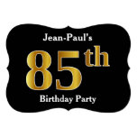 [ Thumbnail: Faux Gold Look 85th Birthday Party + Custom Name Invitation ]