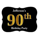 [ Thumbnail: Faux Gold Look 90th Birthday Party + Custom Name Invitation ]