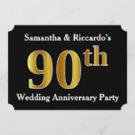 [ Thumbnail: Faux Gold Look 90th Wedding Anniversary Party Invitation ]